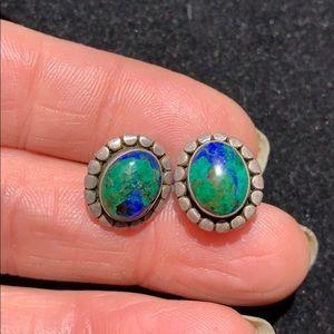 Jewelry - STERLING SILVER W/ MALACHITE/AZURITE EARRINGS